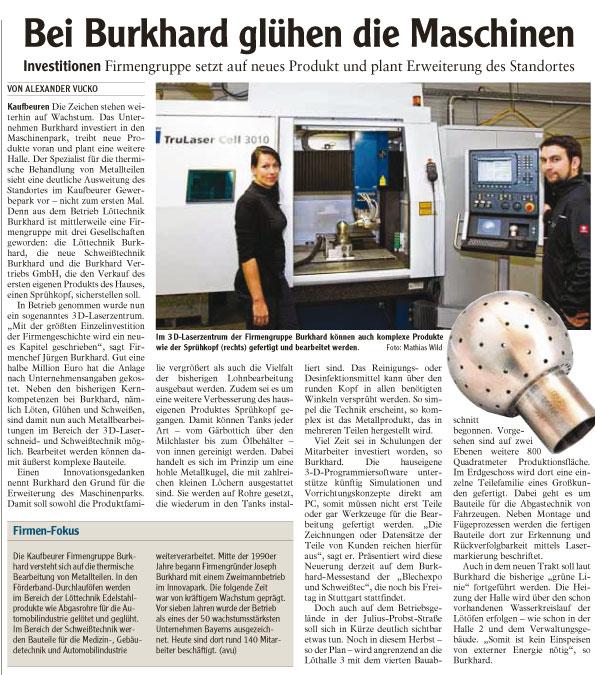 AZ Beitrag Bei Burkhard glühen die Maschinen