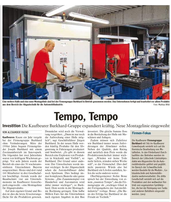 Beitrag AZ Tempo Tempo