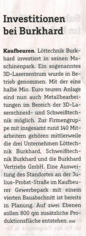 Beitrag Investitionen bei Burkhard